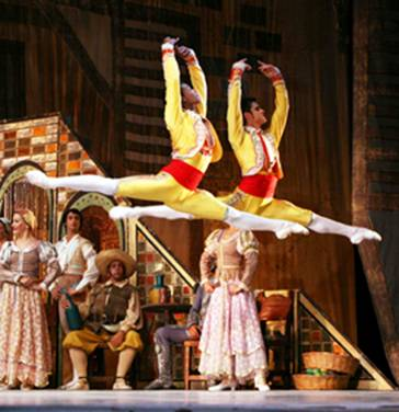 Male ballet dancers grand jete don quixote