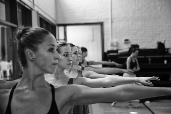 Cape Town City Ballet warm-up class.