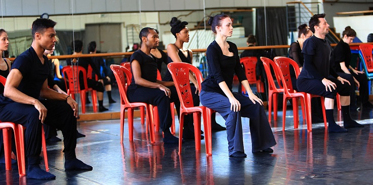 Dancers from Joburg Ballet rehearsng Belinda Nusser's new piece, called The Deep and Lovely Quiet.