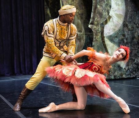 Xola Putye as Prince Ivan shows us how it's done as he catches his Firebird (Kim Vieira).