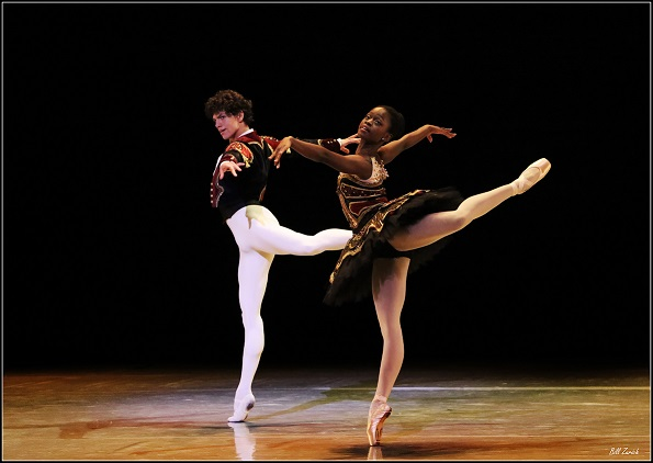 Isaac Hernandez and Michaela DePrince rehearsing a scene from Don Quixote. Photo by Bill Zurich