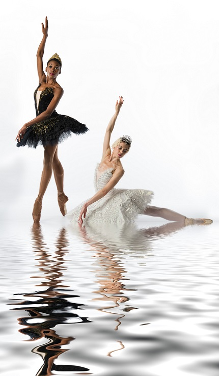 Claudia Monja and Prima Ballerina Burnise Silvius dancing in Joburg Ballet's Swan Lake.