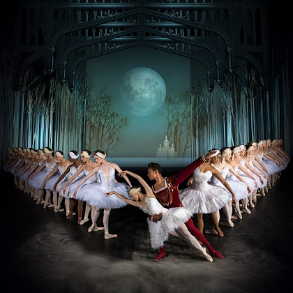 South African prima ballerina, Burnise Silvius, with Jonathan Rodrigues and dancers from Joburg Ballet in front of the company's grand new sets designed by Andrew Botha. Photo by Lauge Sorensen